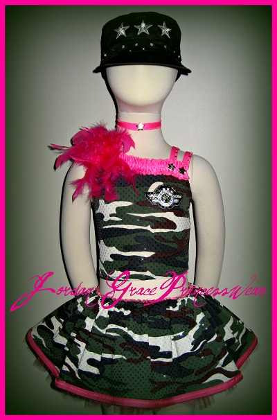 Pageant Wear 030-Jordan Grace Princesswear custom pageant wear - Military Theme
